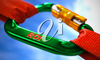Green Carabiner between Red Ropes on Sky Background, symbolizing the ROI - Return on Investment. Selective Focus.
