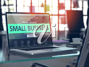 Small Business Concept - Closeup on Laptop Screen in Modern Office Workplace. Toned 3d Illustration with Selective Focus.