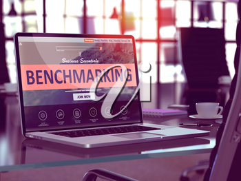 Benchmarking Concept Closeup on Laptop Screen in Modern Office Workplace. Toned Image with Selective Focus. 3d Render.