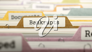 Bankrupts - Folder Register Name in Directory. Colored, Blurred Image. Closeup View. 3d Render.