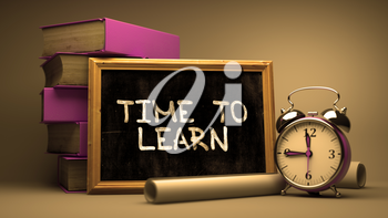 Time to Learn Handwritten by white Chalk on a Blackboard. Composition with Small Chalkboard and Stack of Books, Alarm Clock and Rolls of Paper on Blurred Background. Toned Image. 3d Render.