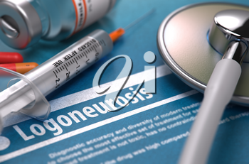 Diagnosis - Logoneurosis. Medical Concept with Blurred Text, Stethoscope, Pills and Syringe on Blue Background. Selective Focus. 3d Render.