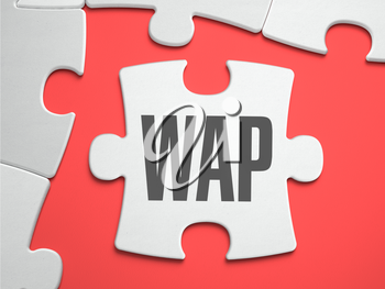WAP - Wireless Application Protocol - Text on Puzzle on the Place of Missing Pieces. Scarlett Background. Closeup. 3d Illustration.