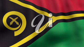 A 3D rendered still of a Vanuatuan flag, waving and rippling in the wind. Also available as loopable animated version in my portfolio.