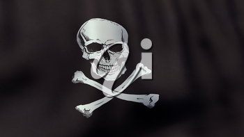 A 3D rendered still of a Jolly Roger pirate flag, waving and rippling in the wind. Also available as loopable animated version in my portfolio.