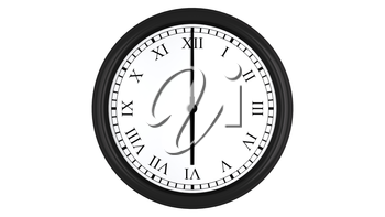 Realistic 3D render of a wall clock with Roman numerals set at 6 o'clock, isolated on a white background.