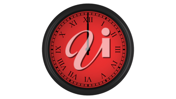 Wall clock with Roman numerals showing a 60 minutes red time interval, isolated on a white background. Realistic 3D computer generated image.
