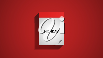 Red weekly calendar on a red wall, showing Monday. Digital illustration.