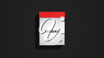 Red weekly calendar on a dark gray wall, showing Sunday. Digital illustration.