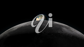 Planet Earth rising over the Moon horizon, partially visible on a black background. Digital 3D illustration. Elements of this illustration are furnished by NASA.
