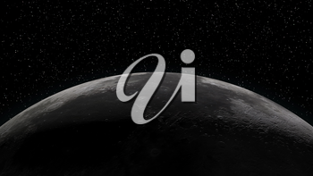 Close up of the Moon. Partially lit horizon surrounded by stars. Digital 3d illustration. Elements of this illustration are furnished by NASA.