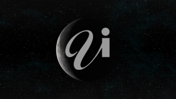 The Moon in waning crescent phase on a background of stars. Digital illustration. Moon texture is public domain provided by NASA.