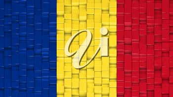 Romanian flag made of cubes in a random pattern. 3D computer generated image.