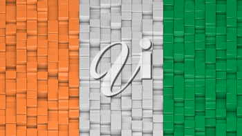 Ivorian flag made of cubes in a random pattern. 3D computer generated image.
