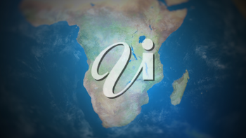 Southern Africa on a world map with vignette and radial blur effect. Elements of this image are furnished by NASA.