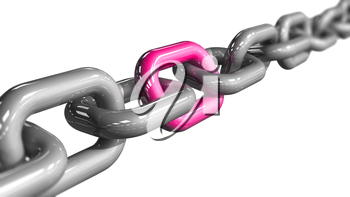 A single pink colored link in a chain. Conceptual image depicting being unique and standing out. LGBT pride concept. 3D rendered illustration.