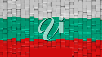 Bulgarian flag made of cubes in a random pattern. 3D computer generated image.