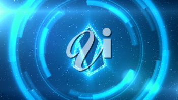 Blue EOS symbol centered on a starscape background with HUD elements.