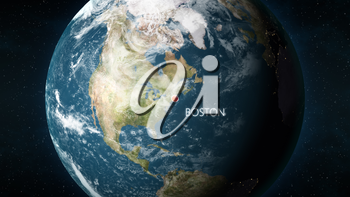 3D illustration depicting the location of Boston, Massachusetts in the United States of America, on a globe seen from space.