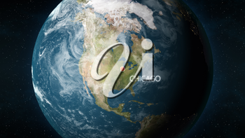 3D illustration depicting the location of Chicago, Illinois in the United States of America, on a globe seen from space.