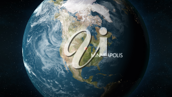3D illustration depicting the location of Minneapolis, Minnesota in the United States of America, on a globe seen from space.