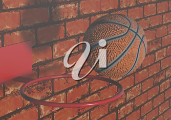 basketball ball and red brick wall