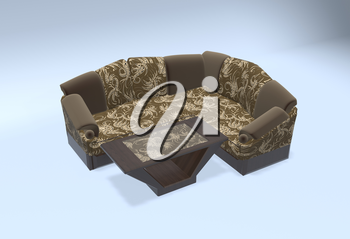 brown divan 3d illustration with table