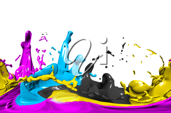hdri background with cmyk color on white