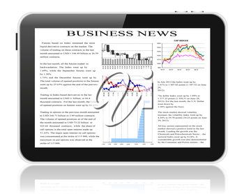 Illustration of tablet pc with business news on screen.
