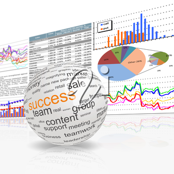 Royalty Free Clipart Image of a Globe With Success Concepts