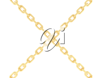 Two gold chains are connected together. 3d rendering.
