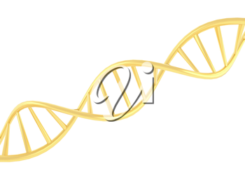 Gold DNA symbol on white background. 3d render illustration.