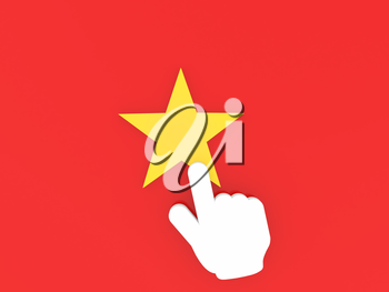 The hand with the index finger points to the star. 3d render illustration.