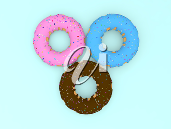 Three colored donuts on a blue background. 3d render illustration.