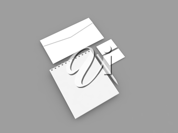 Notepad envelope business card and pen on a gray background. 3d render illustration.