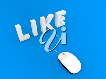 Like and computer mouse on a blue background. 3d render illustration.