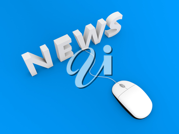Computer mouse and news on a blue background. 3d render illustration.