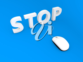 Computer mouse and stop on blue background. 3d render illustration.