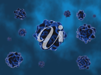 Abstract image of a medical virus on a blue background. 3d render illustration.