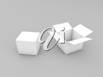 Two cardboard boxes mock up on gray background. 3d render illustration.