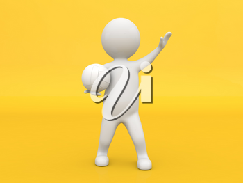 3d character athlete with a ball on a yellow background. 3d render illustration.
