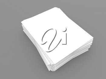 Stack of blank A4 white paper template sheets on gray background. 3d render illustration.
