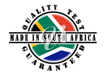 Quality test guaranteed stamp with a national flag inside, South Africa