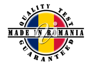 Quality test guaranteed stamp with a national flag inside, Romania