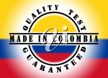 Quality test guaranteed stamp with a national flag inside, Colombia