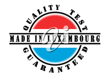 Quality test guaranteed stamp with a national flag inside, Luxembourg