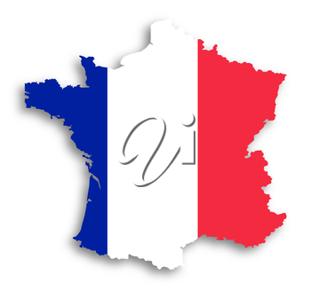 Map of the French Republic with national flag isolated