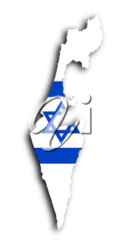 Israel map with the flag inside, isolated