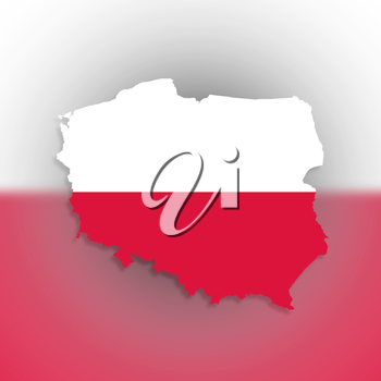 Poland map with the flag inside, isolated