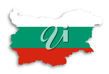 Map of Bulgaria filled with flag, isolated